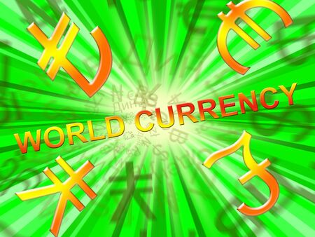 World Currency Symbols  Means Global Rates 3d Illustration