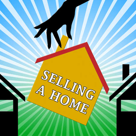 Selling A Home House Means Sell Property 3d Illustration Stock Photo