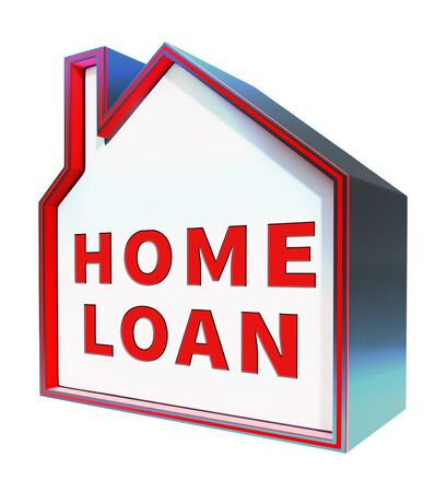 loaning: Home Loan House Means Fund Homes 3d Rendering Stock Photo
