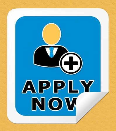Apply Now Icon Meaning Occupation Admission 3d Illustration Stock Photo