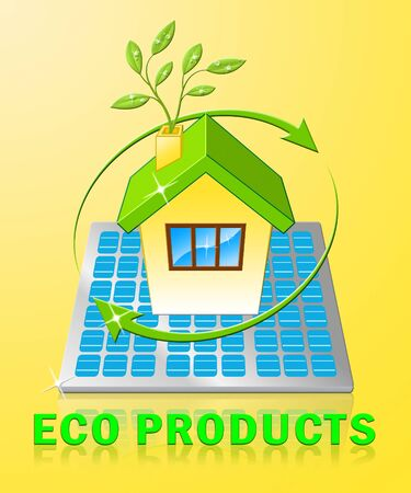 Eco Products House Displays Green Goods 3d Illustration Stock Photo