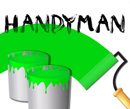 House Handyman Paint Displays Home Repairman 3d Illustration