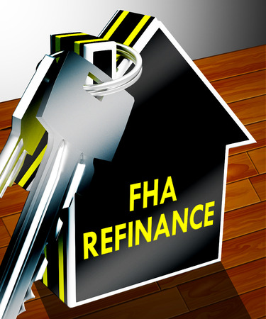 borrowing: FHA Refinance Keys Means Federal Housing Administration 3d Rendering Stock Photo