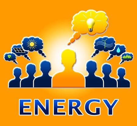 Energy Bulb People Means Electric Power 3d Illustration Stock Photo