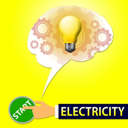 Electricity Lightbulb Means Power Source 3d Illustration Stock Photo