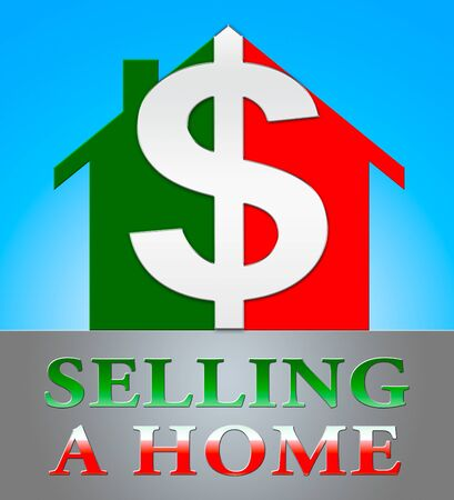Selling A Home Dollar Icon Meaning Sell Property 3d Illustration Stock Photo