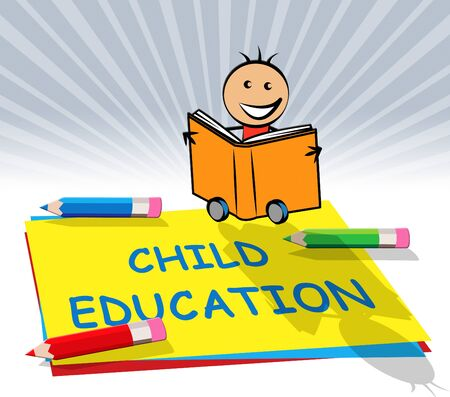 educated: Child Education Paper Displays Kids School 3d Illustration
