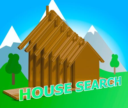 searches: House Search Houses Means Housing Finder 3d Illustration Stock Photo