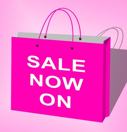 bargaining: Sale Now On Bag Displays Internet Discounts 3d Illustration Stock Photo