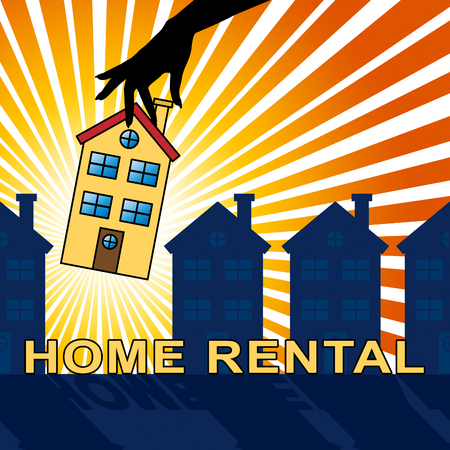 renting: House Rental House Shows Real Estate 3d Illustration Stock Photo