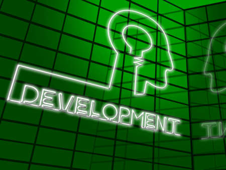 Development Lightbulb Head Meaning Growth Progress 3d Illustration Stock Photo