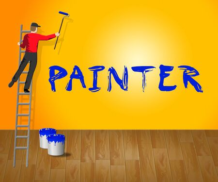 Home Painter Showing House Painting 3d Illustration Stock Photo