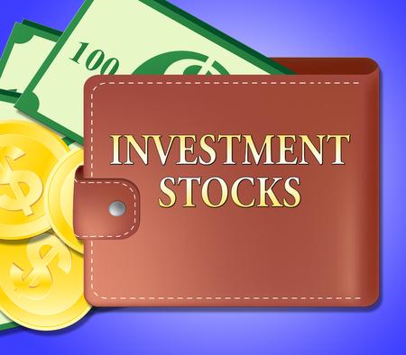 Investment Stocks Wallet Shows Market Shares 3d Illustration