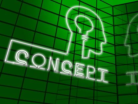 Significado concepto Cabeza Ideas Teoría y la noción Ilustración 3d Foto de archivo - 75559073