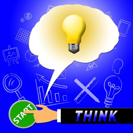 Think Light Representing Reflection And Consider 3d Illustration Stock Photo