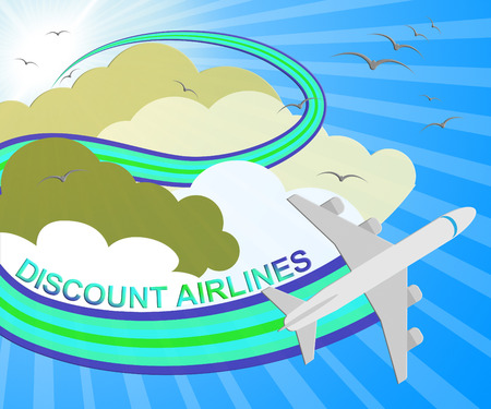 Discount Airlines Plane Showing Special Offer Flights 3d Illustration