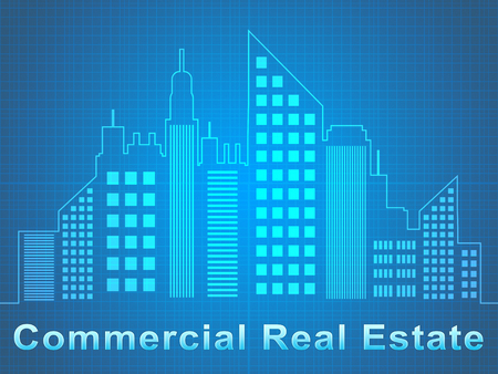 Commercial Real Estate Skyscrapers Represents Offices Sale 3d Illustration
