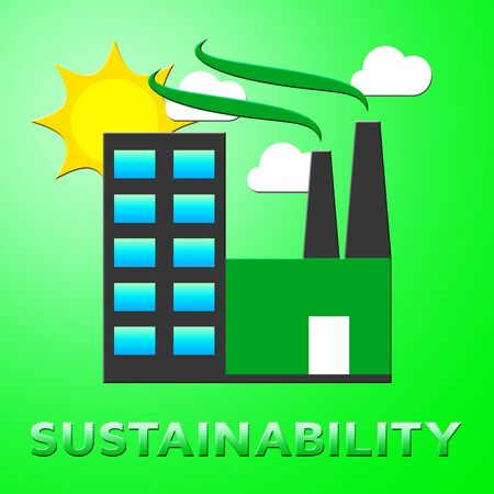 sustained: Sustainability Factory Represents Eco Recycling 3d Illustration