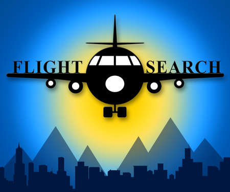 Flight Search Plane Means Flights Finding 3d Illustration
