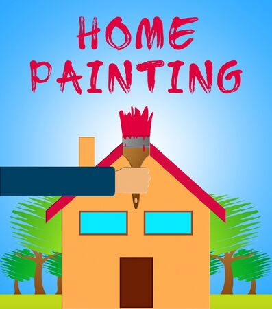 renovate: Home Painting Paintbrush Showing Home Painter 3d Illustration