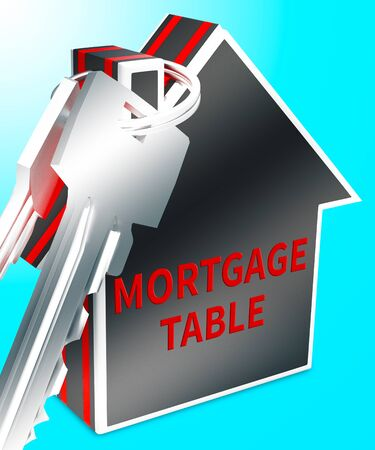 borrowing: Mortgage Table Keys Represents Loan Calculator 3d Rendering
