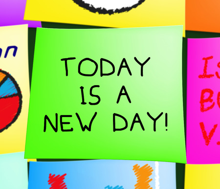 presently: Today Is A New Day Note Displays Joy 3d Illustration