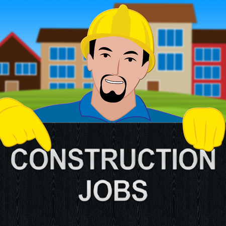 construction Jobs Sign Meaning Building Work 3d Illustration