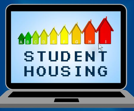 rating: Student Housing Laptop Representing University House 3d Illustration
