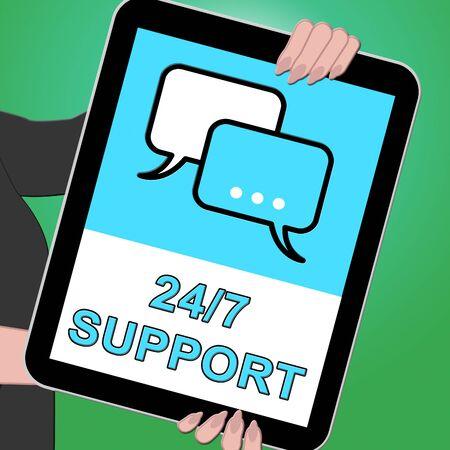 24x7: Twenty Four Seven Support Indicates  Asistance 3d Illustration