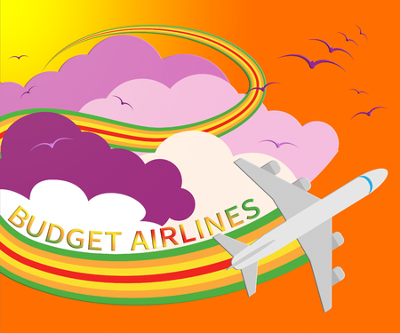 Budget Airlines Plane Shows Special Offer Flights 3d Illustration