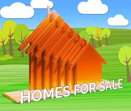 house for sale: Homes For Sale Houses Means Sell House 3d Illustration Stock Photo