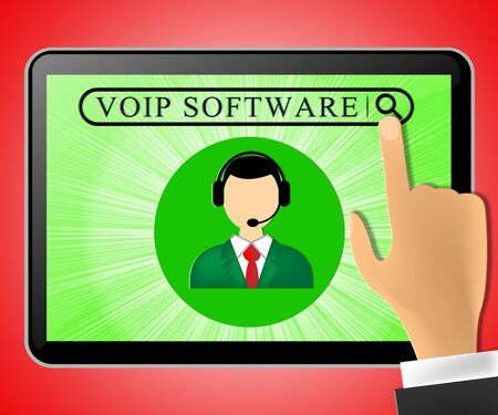 shareware: Voip Software Tablet Representing Internet Voice 3d Illustration Stock Photo