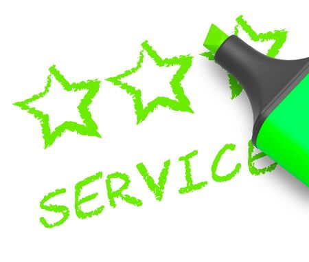 Service Stars Displays Help Review 3d Illustration Stock Photo