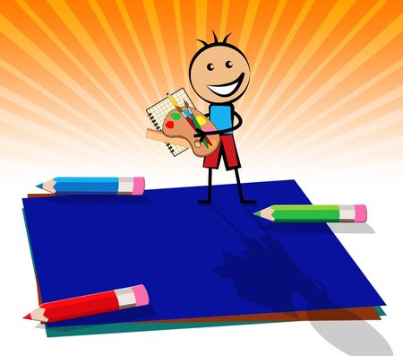 Blue Blank Note And Copyspace Kid Displays Empty 3d Illustration