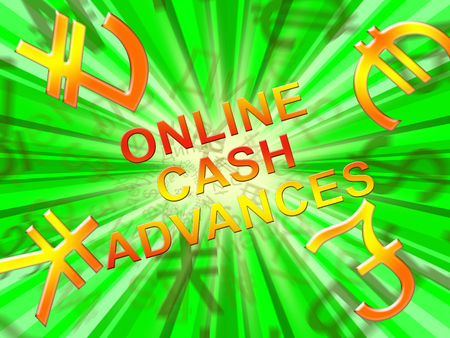 Online Cash Advances Symbols Means Loan 3d Illustration Reklamní fotografie