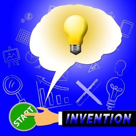 invents: Invention Light Meaning Invents And Innovating 3d Illustration