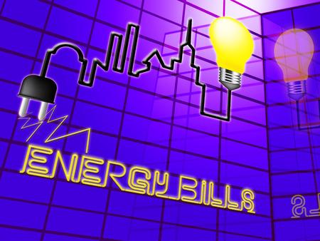 エネルギー法案を示す電気電球電源を 3 d イラスト 写真素材