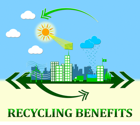 reusing: Recycling Benefits Town Showing Perks Of Reusing 3d Illustration