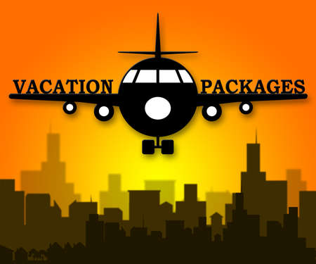 coordinated: Vacation Packages Plane Shows All Inclusive Getaways 3d Illustration Stock Photo