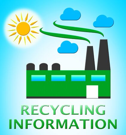tree of knowledge: Recycling Information Factory Represents Earth Friendly 3d Illustration Stock Photo