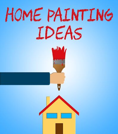 Home Painting Ideas Paintbrush Showing House Paint 3d Illustration