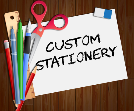 specially: Custom Stationery Paper Showing Personalized Supplies 3d Illustration