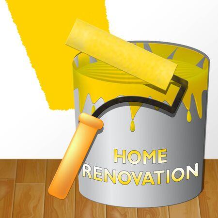 Home Renovation Paint Means House Improvement 3d Illustration Reklamní fotografie