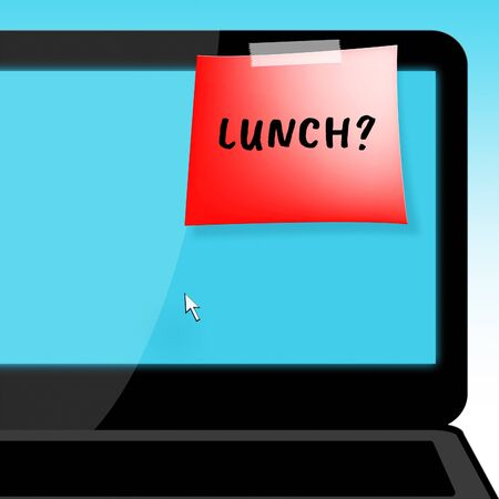 Lunch Or Brunch Laptop Message Means Getting Hungry 3d Illustration