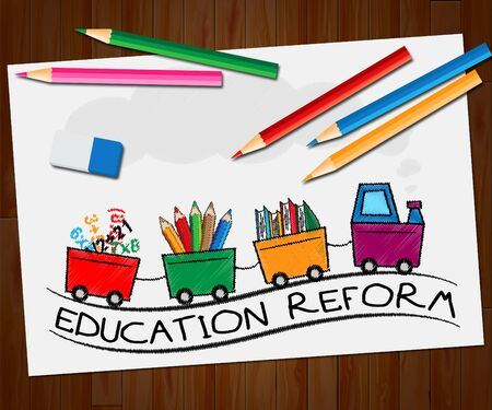 Education Reform Train Showing Changing Learning 3d Illustration
