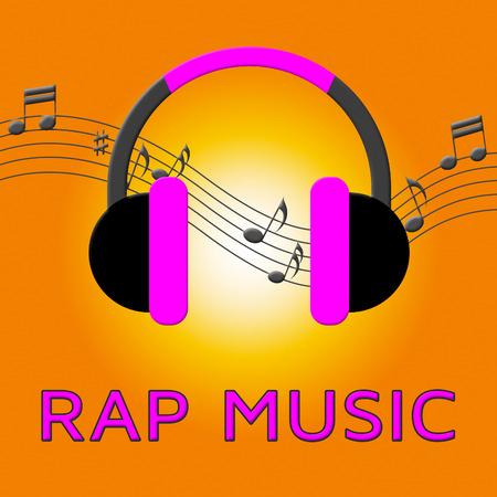 Rap Music Earphones Means Rap Music Earphones Means Downloading Songs 3d Illustration Songs 3d Illustration