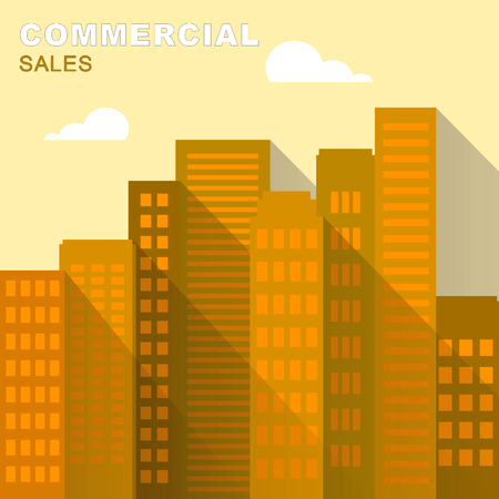 Commercial Sales Downtown Describes Real Estate 3d Illustration Stock Photo