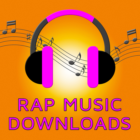 rapping: Rap Music Earphones Means Downloading Songs 3d Illustration