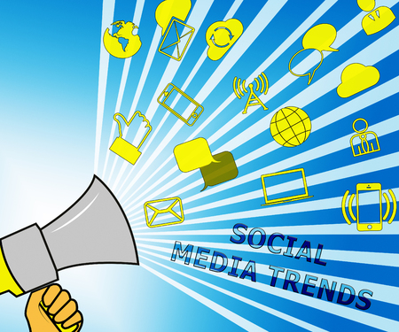 Social Media Trends Icons Shows Emarketing Commerce 3d Illustration