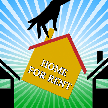 rentals: Home For Rent Hand Means Property Rentals 3d Illustration